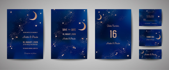 Mystical Night sky background with half moon and stars. Wedding moonlight night Invitation and Save the Date Card in vector