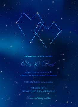 Starry Night Sky Trendy Wedding Invitation Card, Save the Date Celestial Template with Galaxy, Space, Stars Illustration in vector