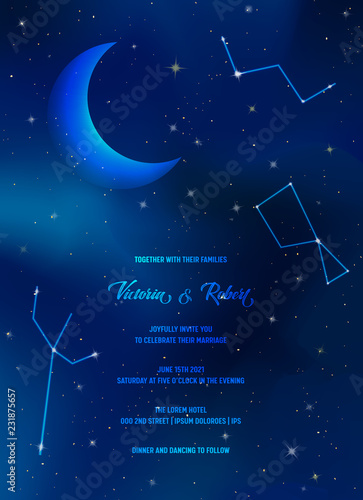 Night Sky Trendy Wedding Invitation Card Save The Date Celestial Template With Moon Stars Galaxy E Ilration In Vector