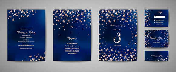 Save the date vector illustration with night starry sky, wedding party star celestial in vector