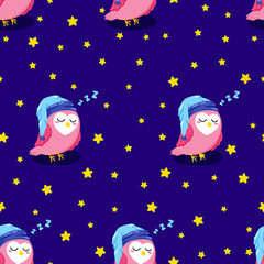 Vector seamless texture with cute cartoon owls. Doodle pattern. Template for print, textile, web design
