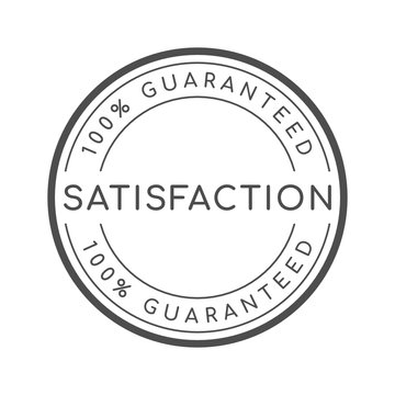 100% satisfaction guaranteed word on circle badge vector. Minimalist style, simple design, black and white color.