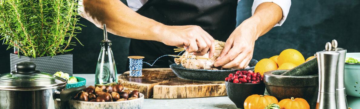 Chef preparing stuffed duck