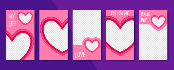 Set of vector abstract heart backgrounds. Material design. Template for web design, advertising, social networks.
