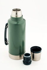 Stainless steel thermos  on white background
