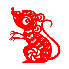 Red paper cut rat zodiac isolate on white background vector design