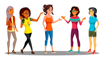 Multicultural Group Of Happy Women Together Vector. Illustration