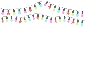 Christmas lights. Garlands isolated on a light background. Place for text. Vector illustration. Wall mural