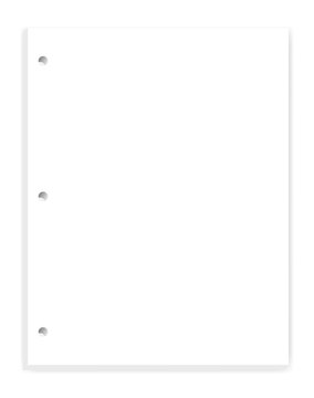 White blank hole punched paper block for 3 ring binder, vector mockup