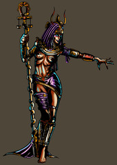 Fantasy egyptian sorceress woman