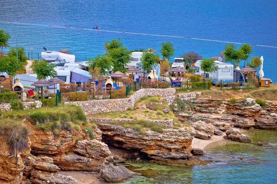 Camping by the sea on Stara Baska cliffs