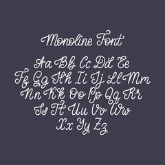 Calligraphy monoline font of Latin letters on dark background. Vector handwritten English alphabet.
