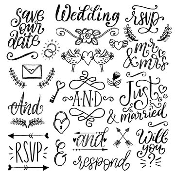Cute decorations for wedding invitations, overlays with text Save the Date. Vector collection of handwritten catchwords.