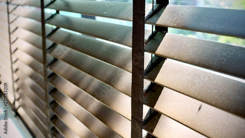 Evening Sun Light Outside Window Blinds Sunshine And Shadow On