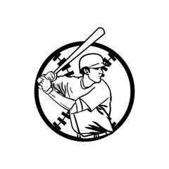 Baseball Player Illustration outline Vector