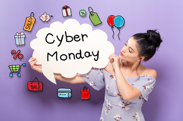 Cyber Monday with young woman holding a speech bubble