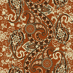 Orante damask background. Paisley seamless pattern