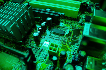 Electronic computer hardware technology. Motherboard digital chip background.