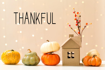 Thankful message with collection of autumn pumpkins with a toy house