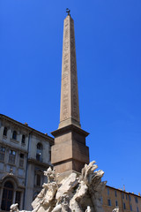 Detail of the Fountain of the four Rivers  with Egyptian obelisk in Piazza Navona, Rome, Italy