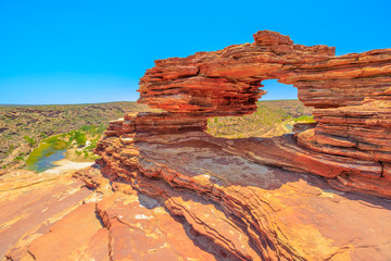 Aluminium Prints Oceania Nature's Window over Murchison River Gorge in Kalbarri National Park, Western Australia. The red rock sandstone arch is the most iconic natural attractions in WA.