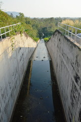 flush way tunnel for drain water and protect flooding at Wang Bon reservoir Thailand