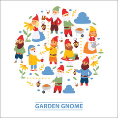 Garden gnome beard dwarf characters wallpaper and gardening flayer klitsch family figure background vector illustration