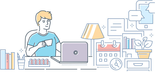 Freelance - modern line design style vector illustration