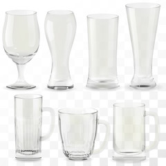 Set of vector realistic transparent beer glasses. Alcohol drink glass icons illustration