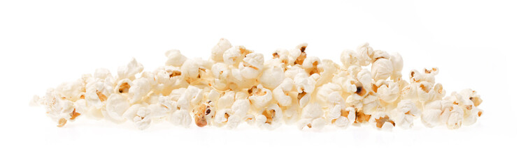 Pop corn pile isolated on white background.