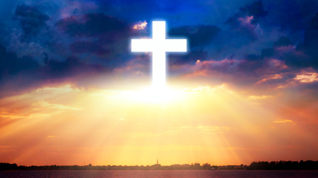 Bright cross over clouds . Church . Religion background . Paradise heaven . Light in sky . Cosmic healing energy .  Light at the end of a tunnel  .  Journey of the Soul  . God's cross