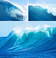Collage of photos with sea waves