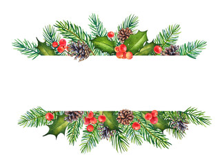 Decorative Christmas element with watercolor branches of holly with berries and pine tree with cones on white background