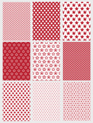 Cute Abstract Vector Patterns Set. 9 Various Geometric Star Designs. White and Red Color. Simple Two Colors Graphic.