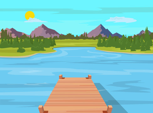 Lake view with wooden dock