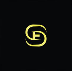 Initial letter SE ES minimalist art logo, gold color on black background.