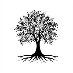 Abstract tree logo design, root vector - Tree of life logo design inspiration