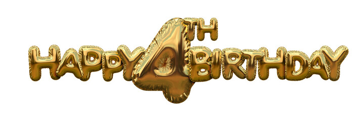 Happy 4th birthday gold foil balloon greeting background. 3D Rendering