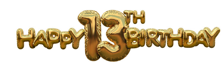 Happy 13th birthday gold foil balloon greeting background. 3D Rendering