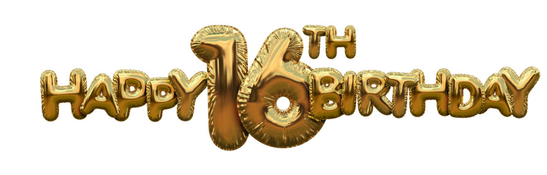 Happy 16th birthday gold foil balloon greeting background. 3D Rendering