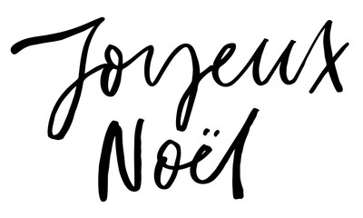 Merry Christmas in French. Handwritten text. Modern calligraphy. Isolated on white