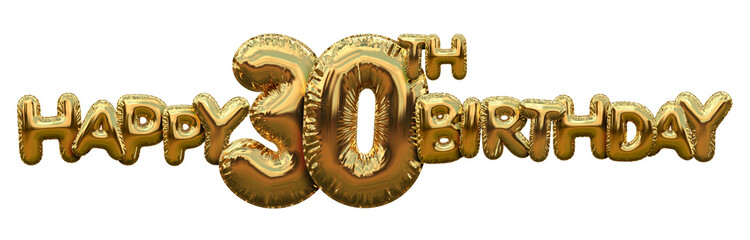 Happy 30th birthday gold foil balloon greeting background. 3D Rendering