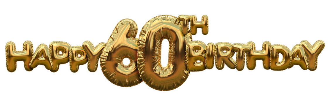 Happy 60th birthday gold foil balloon greeting background. 3D Rendering