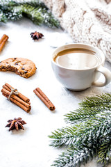 Christmas evening with cup of cocoa white background