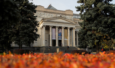 A general view shows the Pushkin State Museum of Fine Arts in Moscow