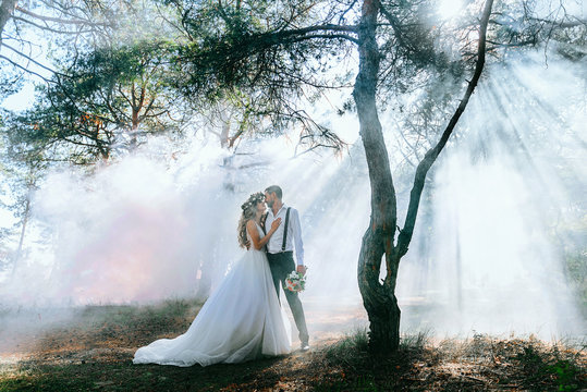 bride and groom on the background of fairy fog in the forest. Rustic wedding concept