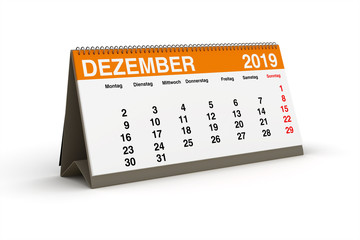 Dezember 2019 - Tischkalender als 3D Illustration