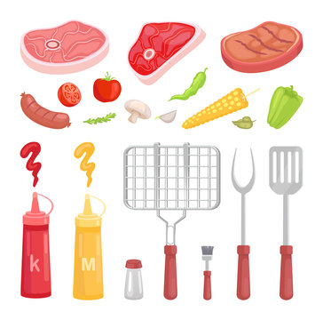 BBQ Set, Barbecue Equipment and Meat, Vector Icon