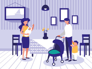 cute family in dining room icon