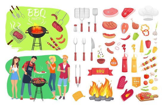 BBQ Party Set People Cooking Vector Illustration